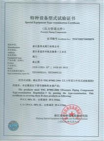 Special Equipment Type-examination Certificate-Globe valves