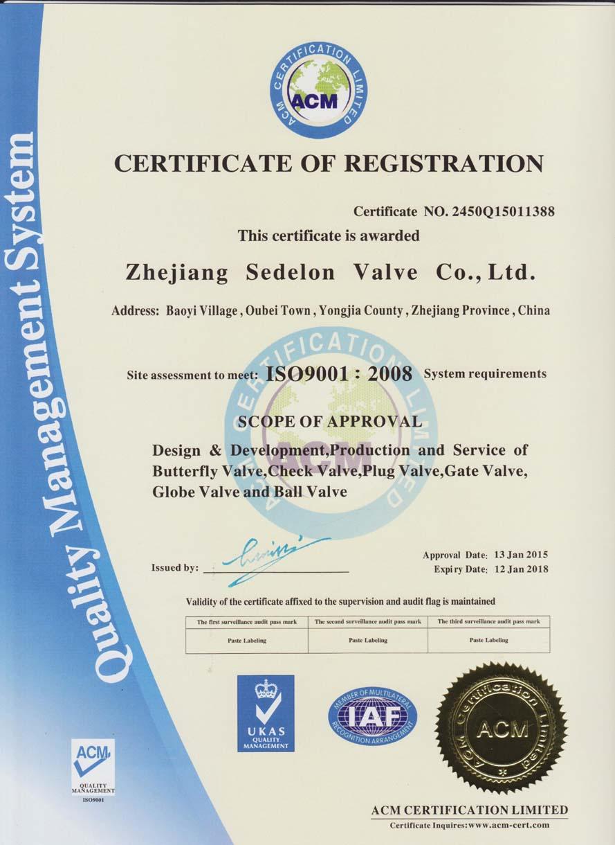 Certificates Sedelon Valve Co Ltd